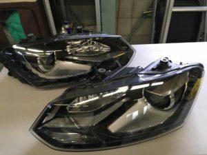 ワーゲンポロのヘッドライトクラック完全除去後の状態