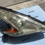日産フェアレディZのヘッドライト黄ばみ除去前の状態