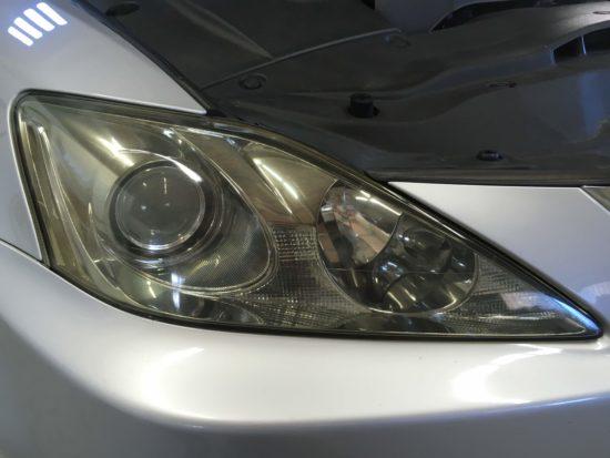 レクサスIS ヘッドライト黄ばみ&クラック除去 (1)