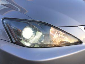 レクサスIS ヘッドライト黄ばみ&クラック除去 (2)