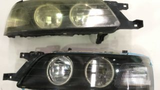 日産ローレルのヘッドライトクリア剥がれとプロテクションフィルム施工