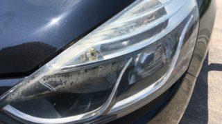 ルノールーテシアのヘッドライト黄ばみ除去とプロテクションフィルム施工