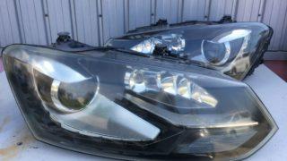 VWポロのヘッドライト黄ばみクラックリペアプロテクションフィルム施工 (9)